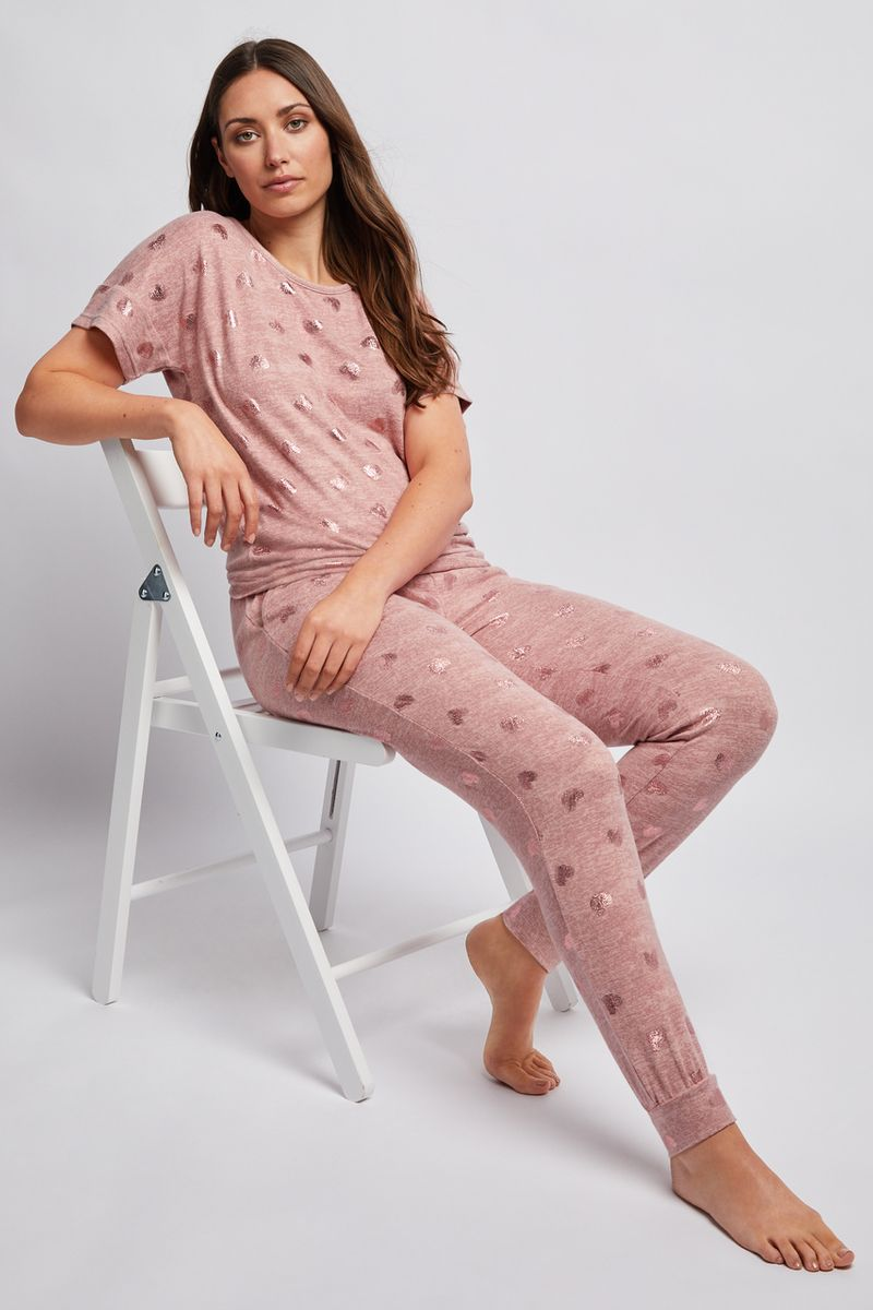 Foil Print Heart Loungewear Pyjamas