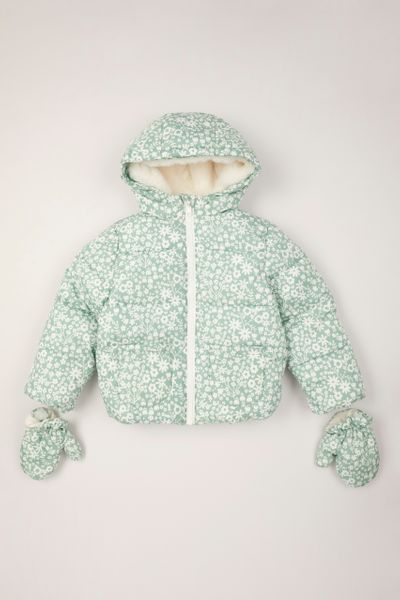 Flower Padded Coat with Mittens