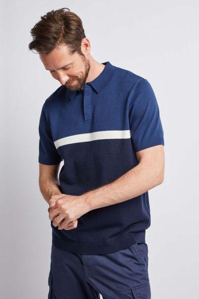 Petrol Blue Colour block Polo Shirt