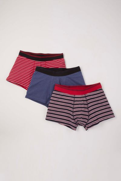 3 Pack Red Blue Stripe Hipster Boxers