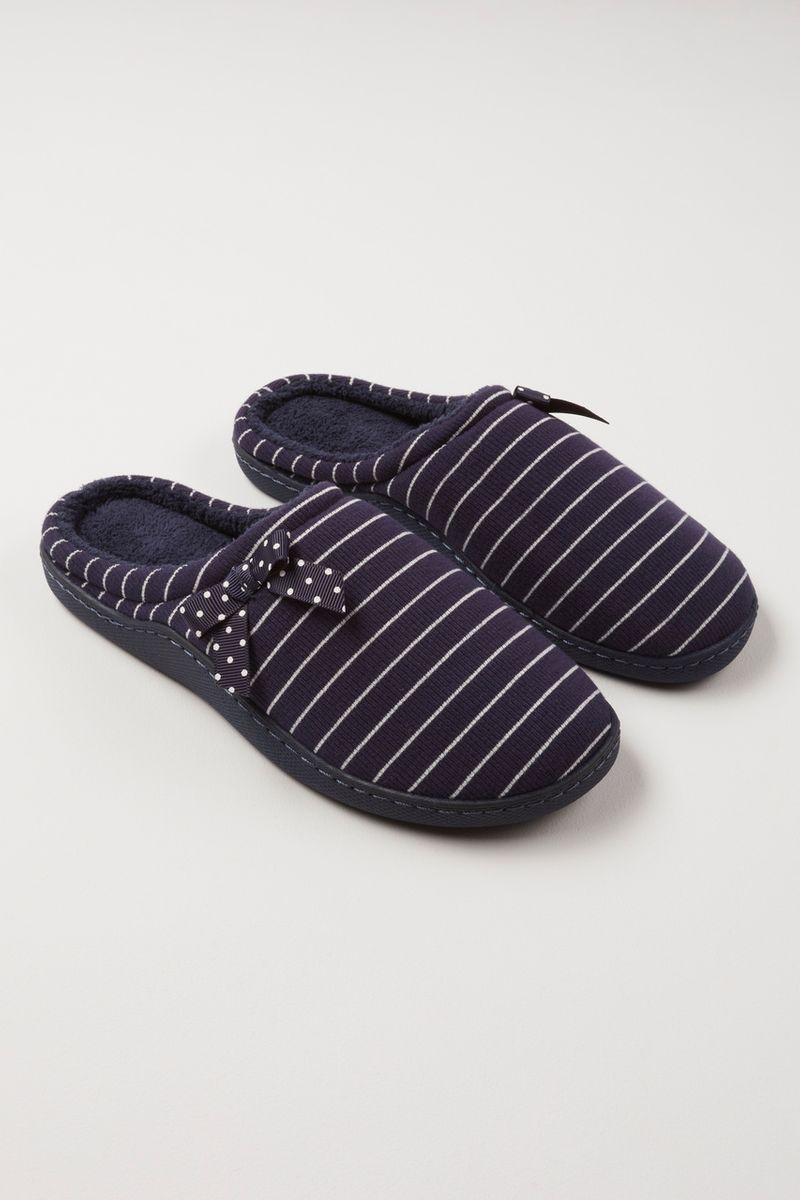 Navy Stripe Cupsole Slippers