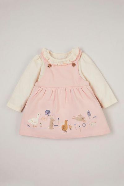2 Piece Pink Pinafore Dress Set