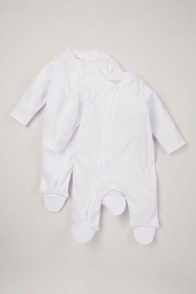 Online Exclusive 2 Pack White Zip Sleepsuits