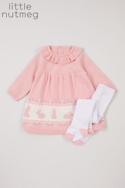 Little Nutmeg Soft Pink Dress & Tights