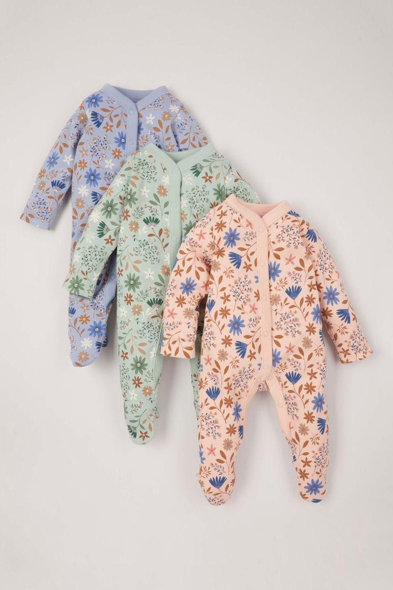 3 Pack Blue Flower Sleepsuits
