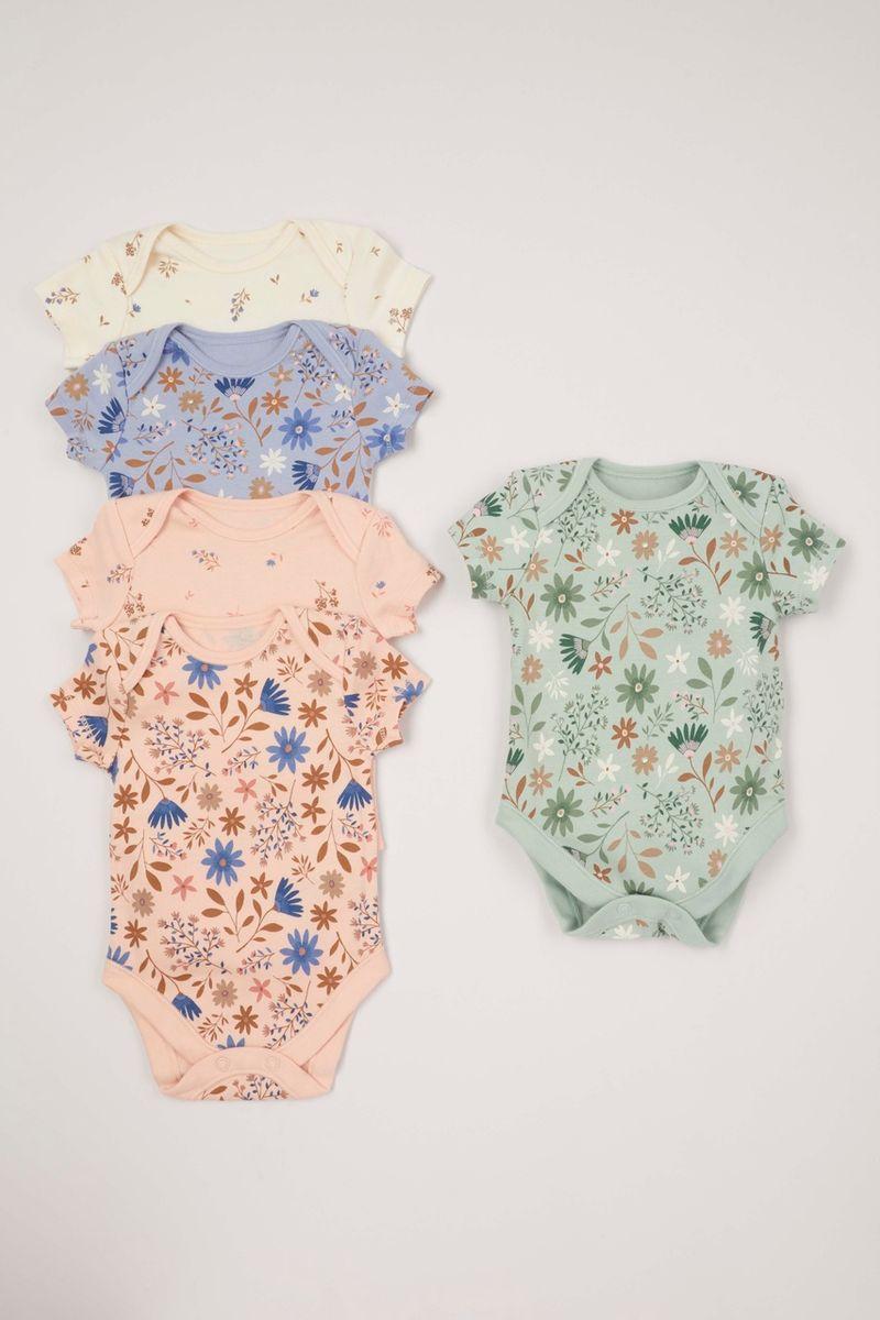 5 Pack Blue Flower Sleepsuits