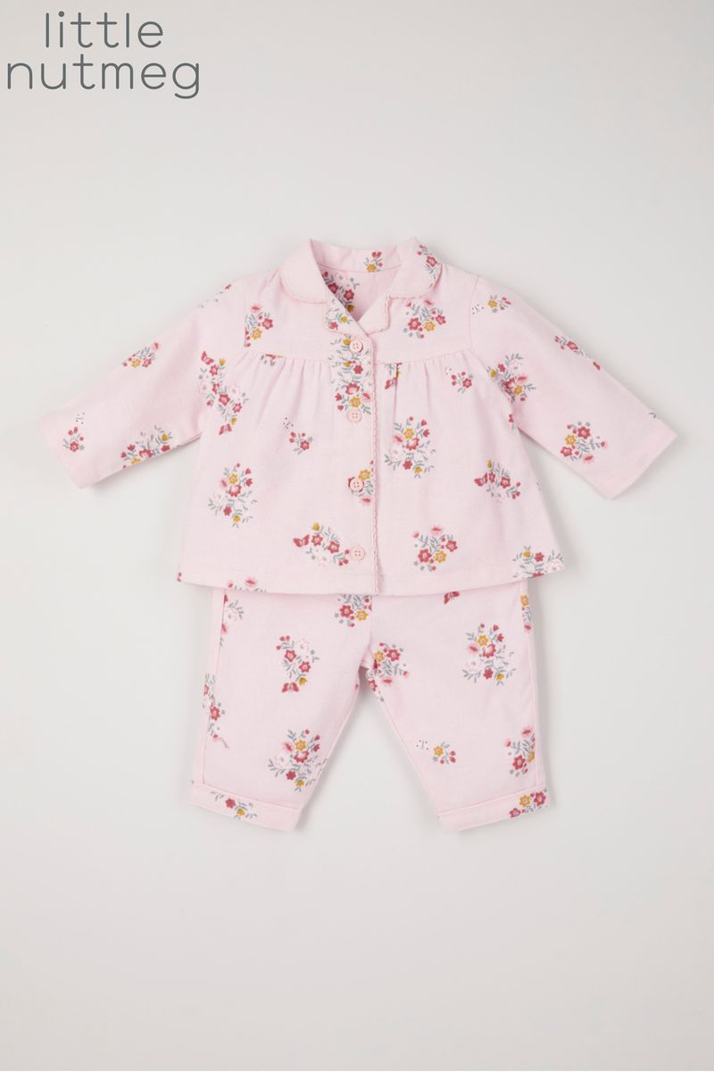 Little Nutmeg Pink Flower Pyjamas