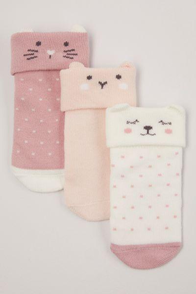 3 Pack Pink Cat Turn Over Socks