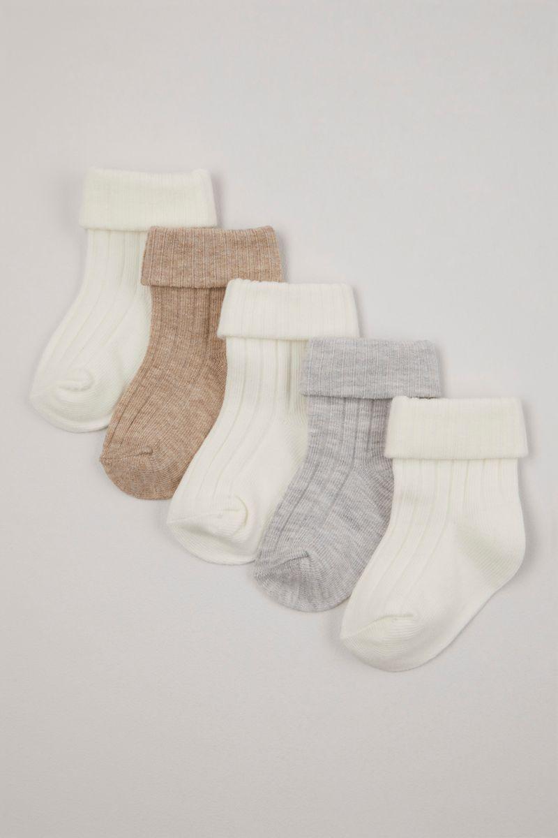 5 Pack Neutral Ribbed socks