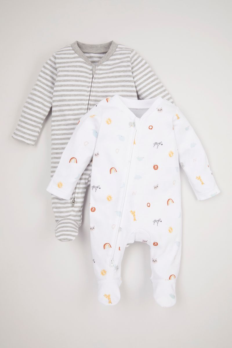 2 Pack White Zipped Sleepsuits