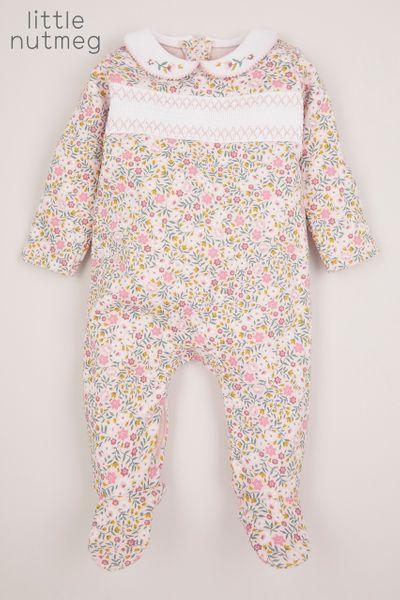 Little Nutmeg Pink Smock Sleepsuit