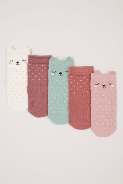 5 Pack Sleepy Kitten Socks