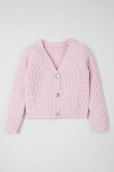 Pink Diamante Button jumper