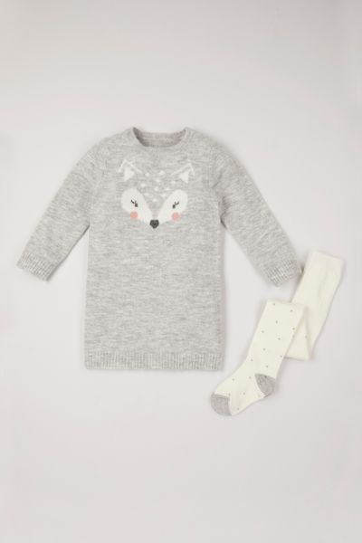 Knitted Fox Dress & Tights