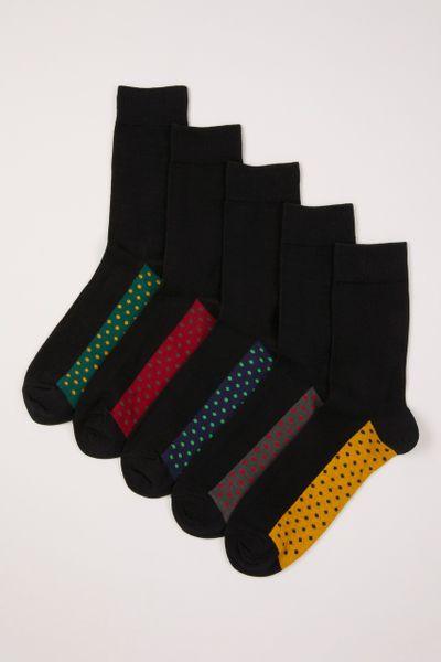 5 Pack Rich Spot Footbed Socks