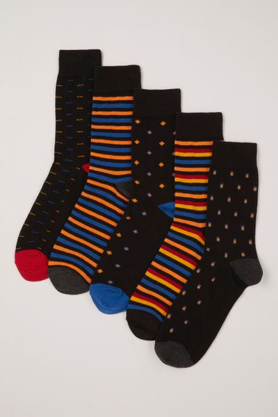 5 Pack Geometric Stripe Socks