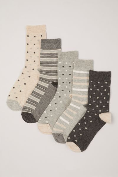 5 Pack Spot Stripe Socks