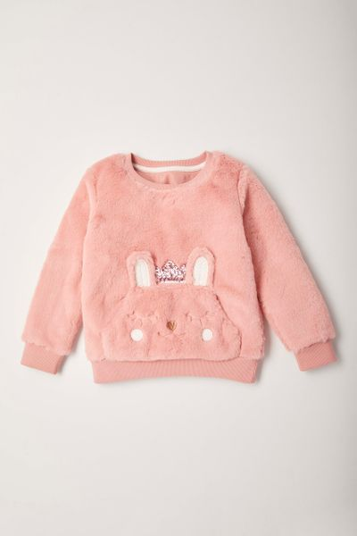 Pink Faux Fur Sweatshirt 1-10yrs
