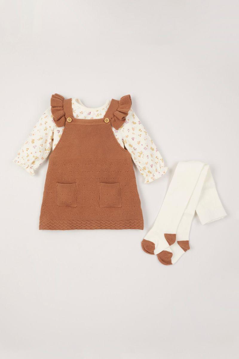 3 Piece Knitted Pinafore Dress Set