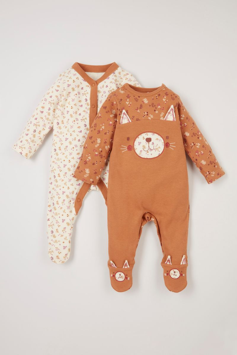2 Pack Cat Sleepsuits