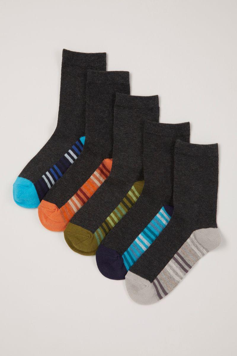 5 Pack Grey Stripe Footbed Socks
