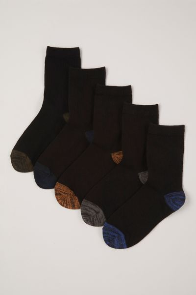 5 Pack Colourful Heel & Toes Socks