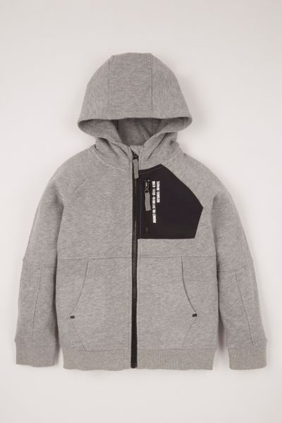 Grey Marl Texture Pocket Hoodie