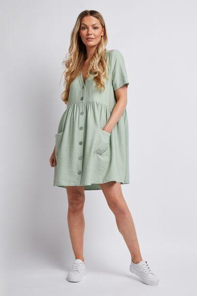 Sage Button Through Dress
