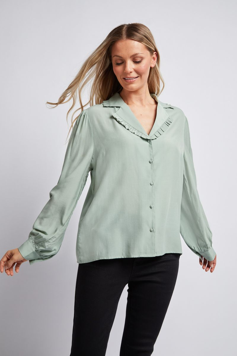 Sage Ruffle Trim Shirt