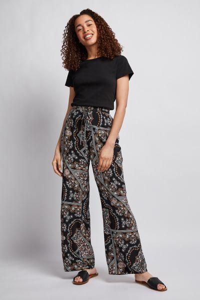 Scarf Print Wide Leg Trouser