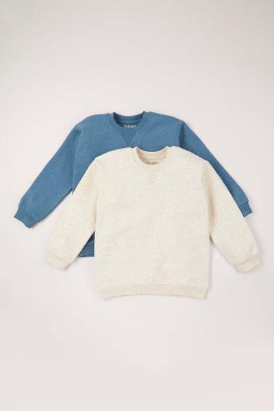 2 Pack Blue & Beige Sweatshirts