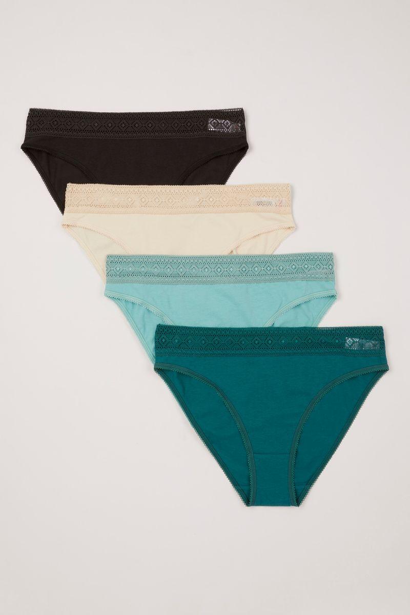 4 Pack Green Grey Lace Top High Leg briefs