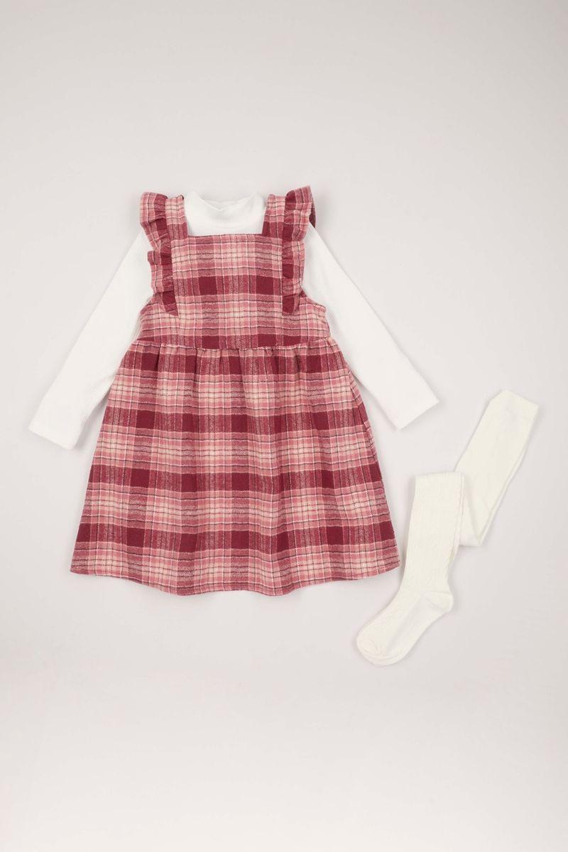3 Piece Check Pinafore Dress Set