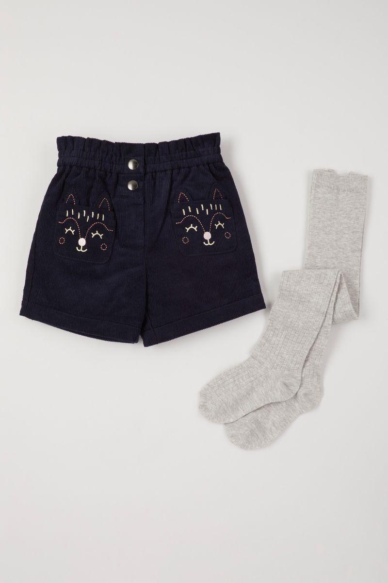 Blue Cord Shorts & Tights