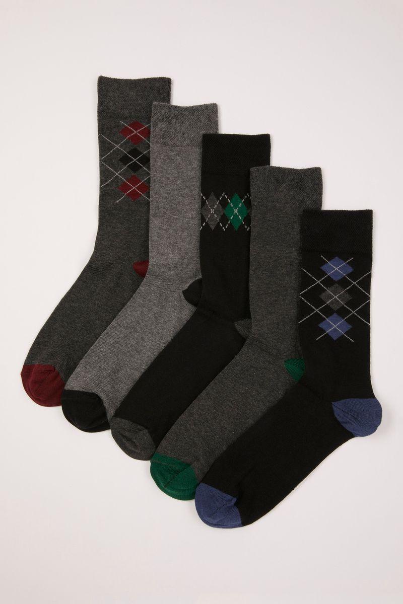 5 Pack Geo Pattern Socks