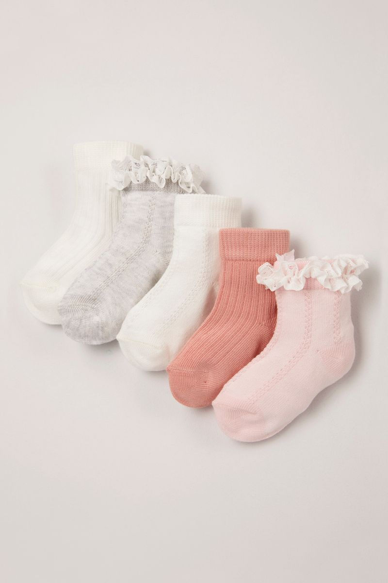 5 Pack Pink Lace socks