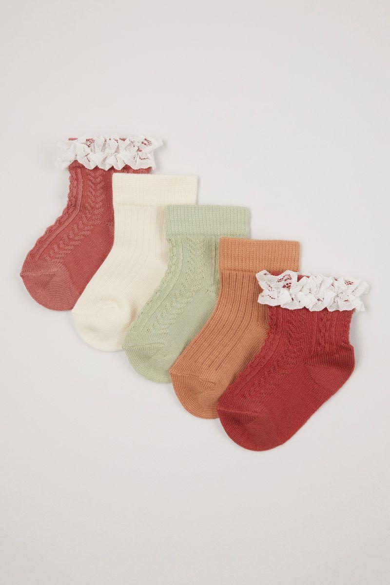 5 Pack Orange Frilly socks
