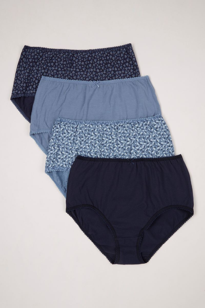 4 Pack Navy Floral Full Briefs