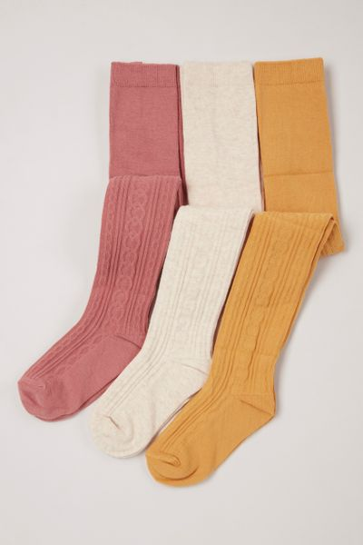3 Pack Ochre Pink White Cable Tights