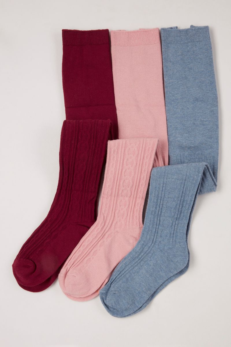 3 Pack Red Pink Blue Cable Tights