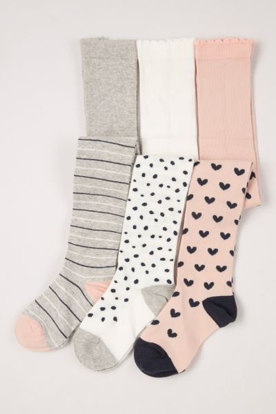 3 Pack Heart Spot Tights