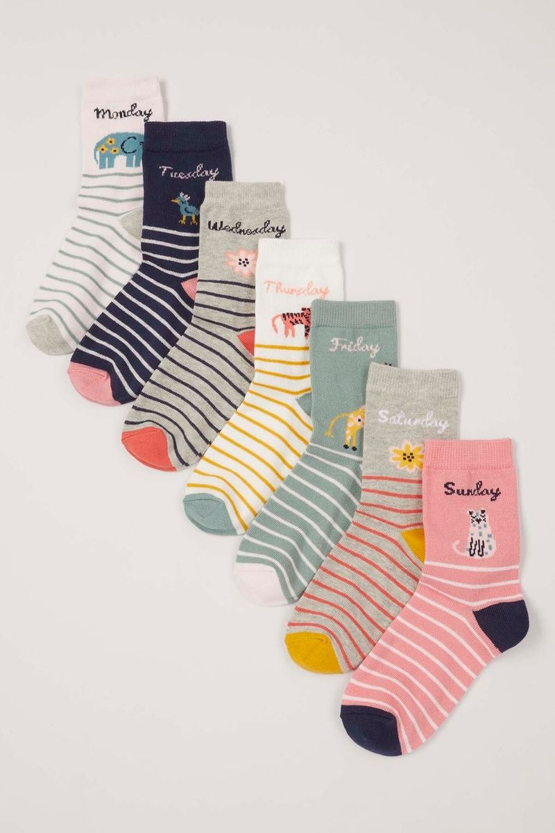 7 Pack Safari Animal Socks