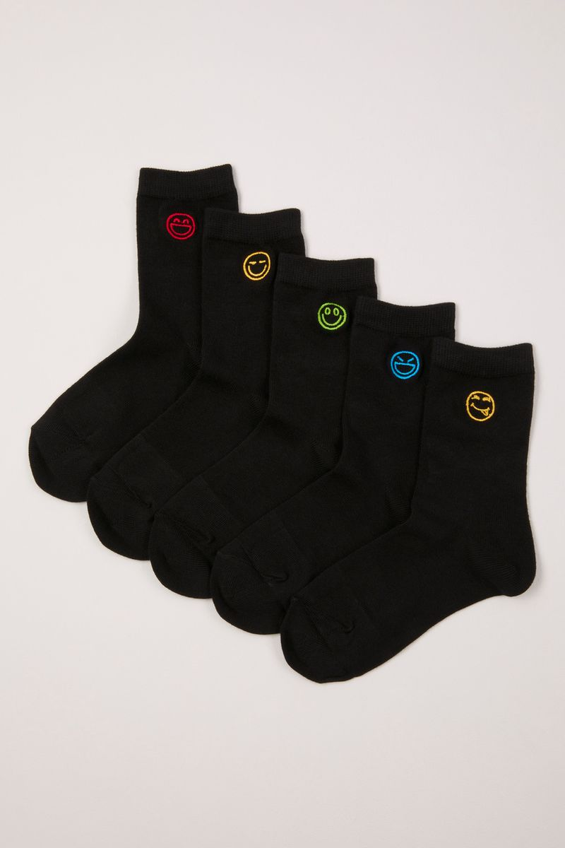 5 Pack Embroidered Smiley Face Socks