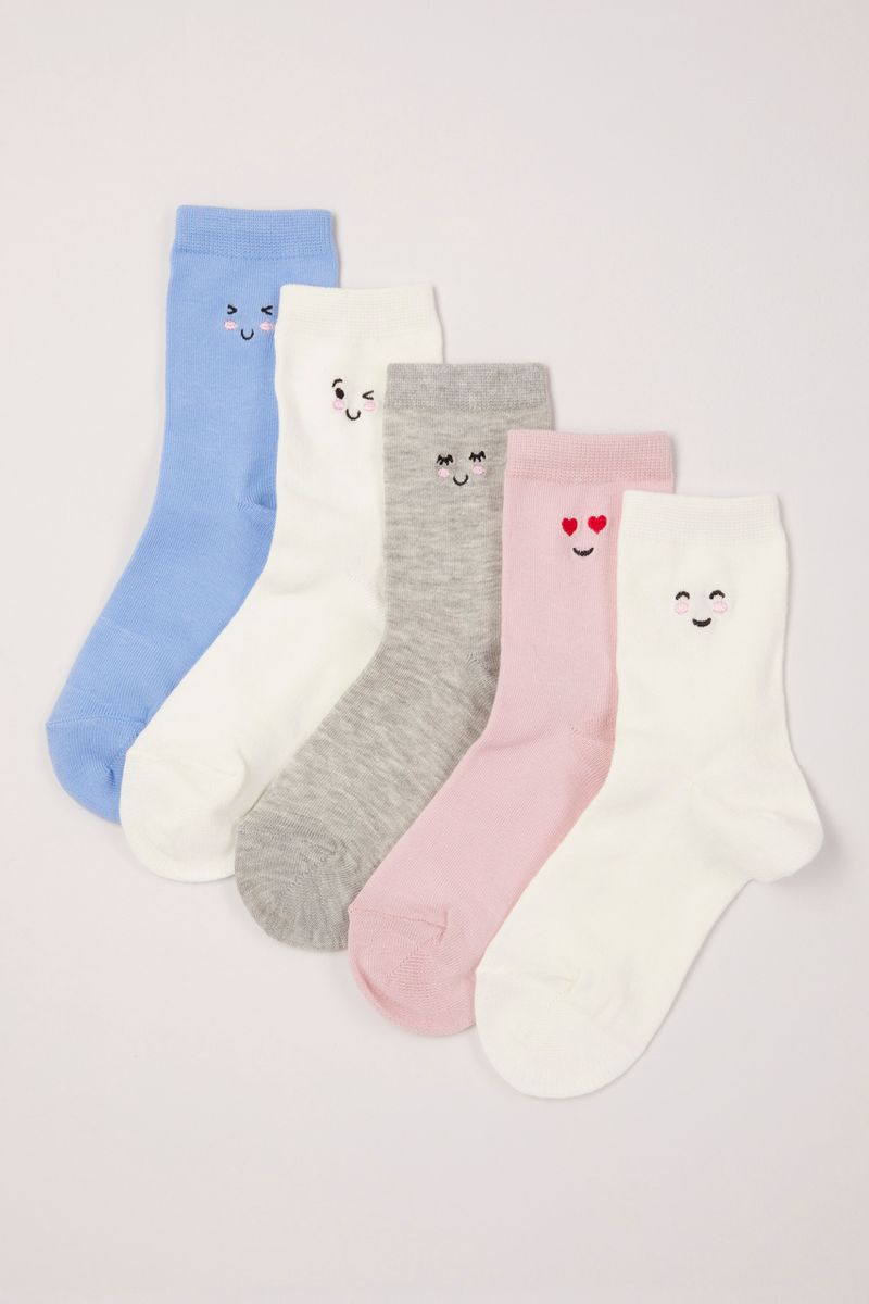 5 Pack Embroidered Face Socks