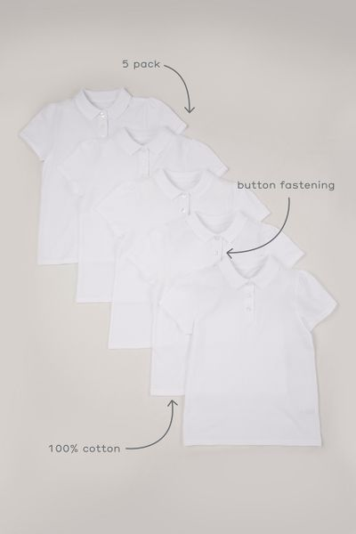 5 Pack Online Exclusive Girls Polo Shirts