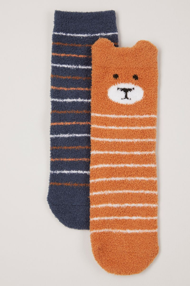 2 Pack Cosy Bear Stripe Socks