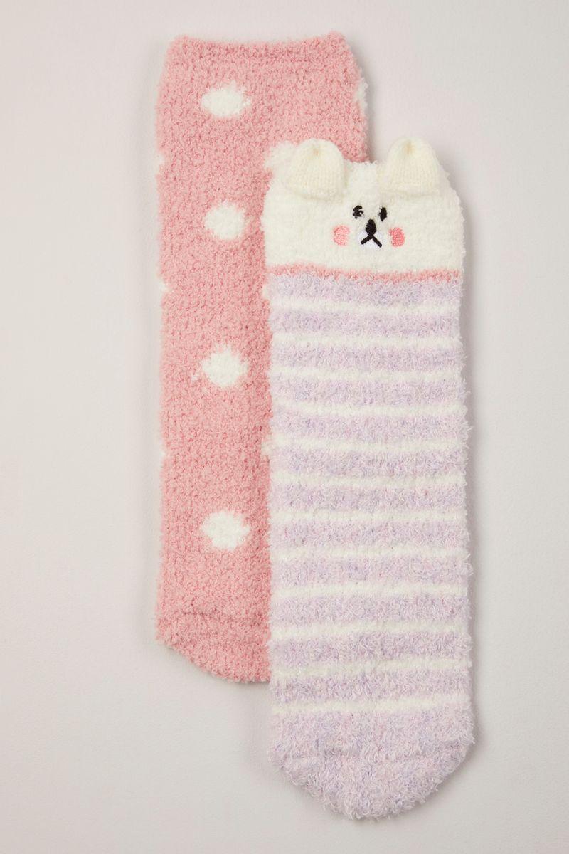 2 Pack Cosy Lilac Bear Socks