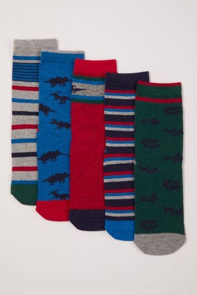 5 Pack Dinosaur Colourful Socks