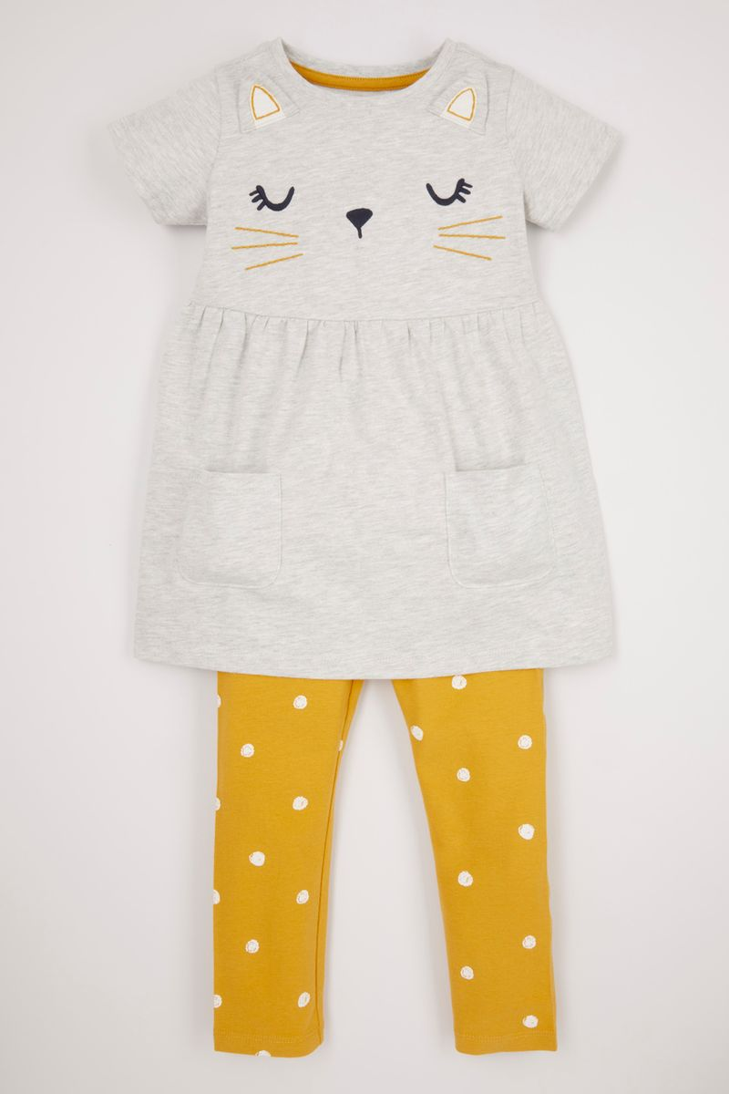 2 Piece Embroidered Cat Set