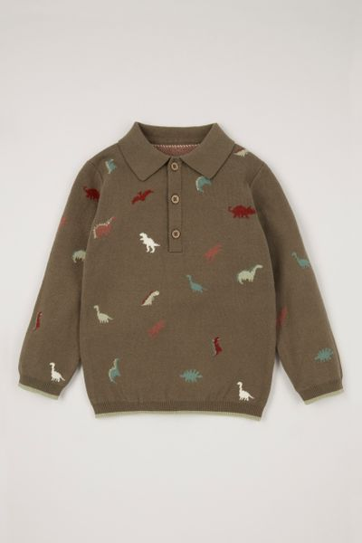 Dino Jacquard Knit Polo Shirt
